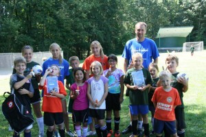 A group of kids with the coaches at Grenville Park, during our first ever camp in August 2011